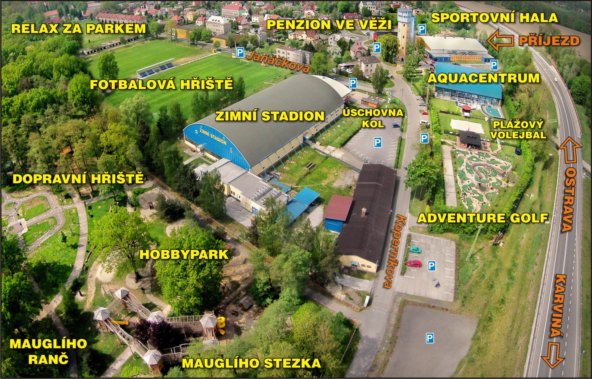 Mapa Arealu Aquacentrum Bohumin Penzion Ve Vezi Zimni Stadion